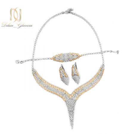 سرویس نقره زنانه پر نگین جواهری ns-n523 از نمای روبرو