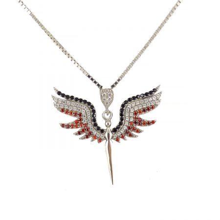 گردنبند دخترانه نقره اصل طرح فرشته ma-n407 از نمای سفید