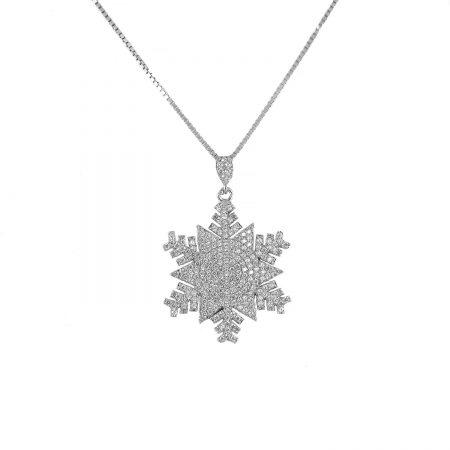 گردنبند دخترانه نقره 925 طرح برف ma-n405 از نمای سفید