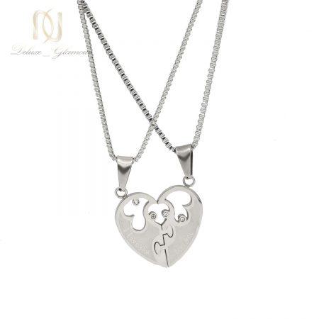 گردنبند ست دوتکه طرح قلب nw-n646 از نمای سفید