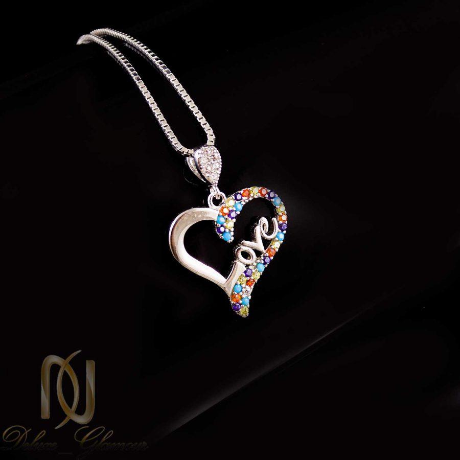 گردنبند طرح قلب نقره عیار 925 اصل ma-n409 از نمای کنار