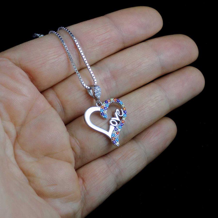 گردنبند طرح قلب نقره عیار 925 اصل ma-n409 از نمای روی دست