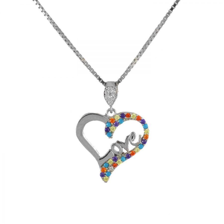 گردنبند طرح قلب نقره عیار 925 اصل ma-n409 از نمای سفید