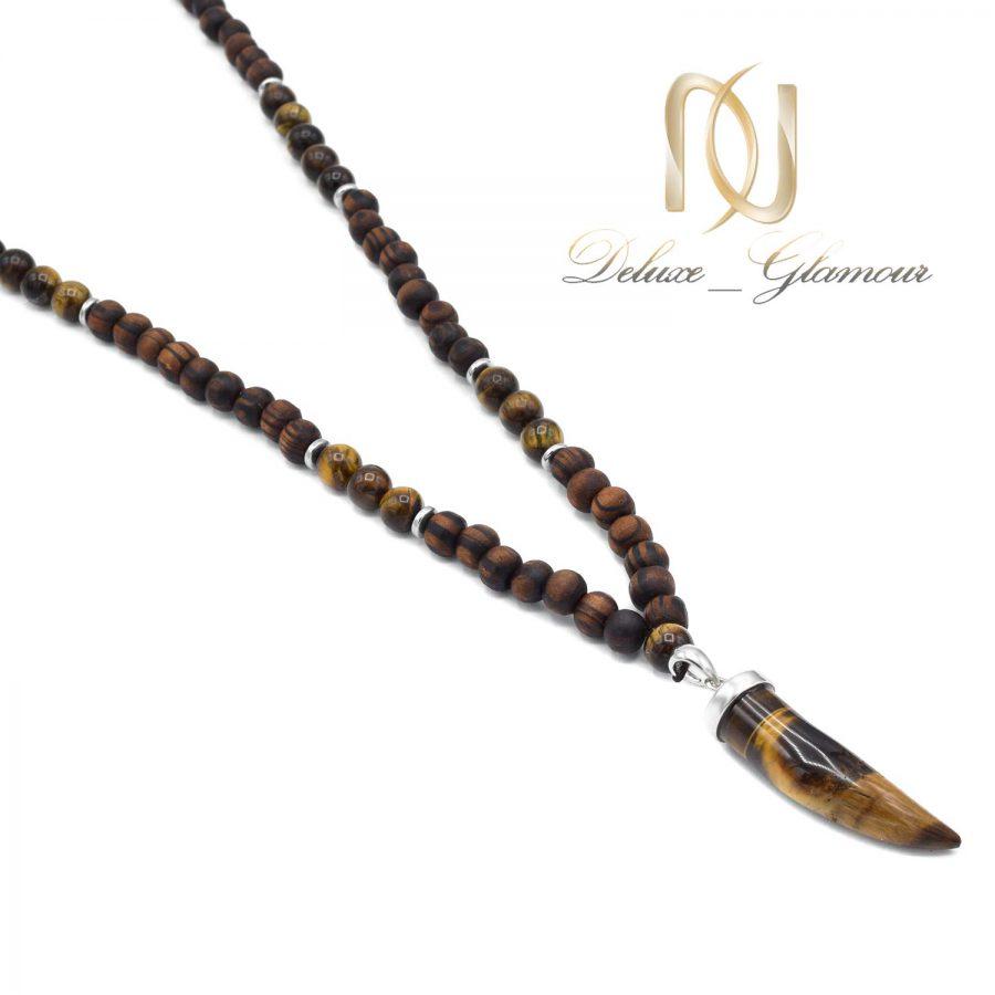 گردنبند مردانه اسپرت چوبی و سنگی nw-n647 از نمای بالا