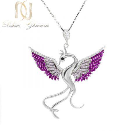گردنبند نقره زنانه طرح پرنده سیمرغ nw-n656 از نمای سفید