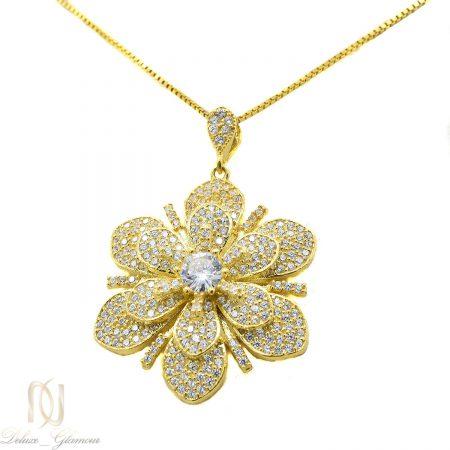 گردنبند نقره زنانه طرح گل طلایی MA-N418 از نمای سفید