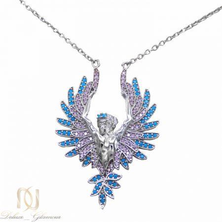 گردنبند نقره طرح فرشته بال دار نگین دار Ma-n420 از نمای سفید