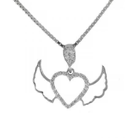 گردنبند نقره ظریف قلب بال دار ma-n414 از نمای سفید