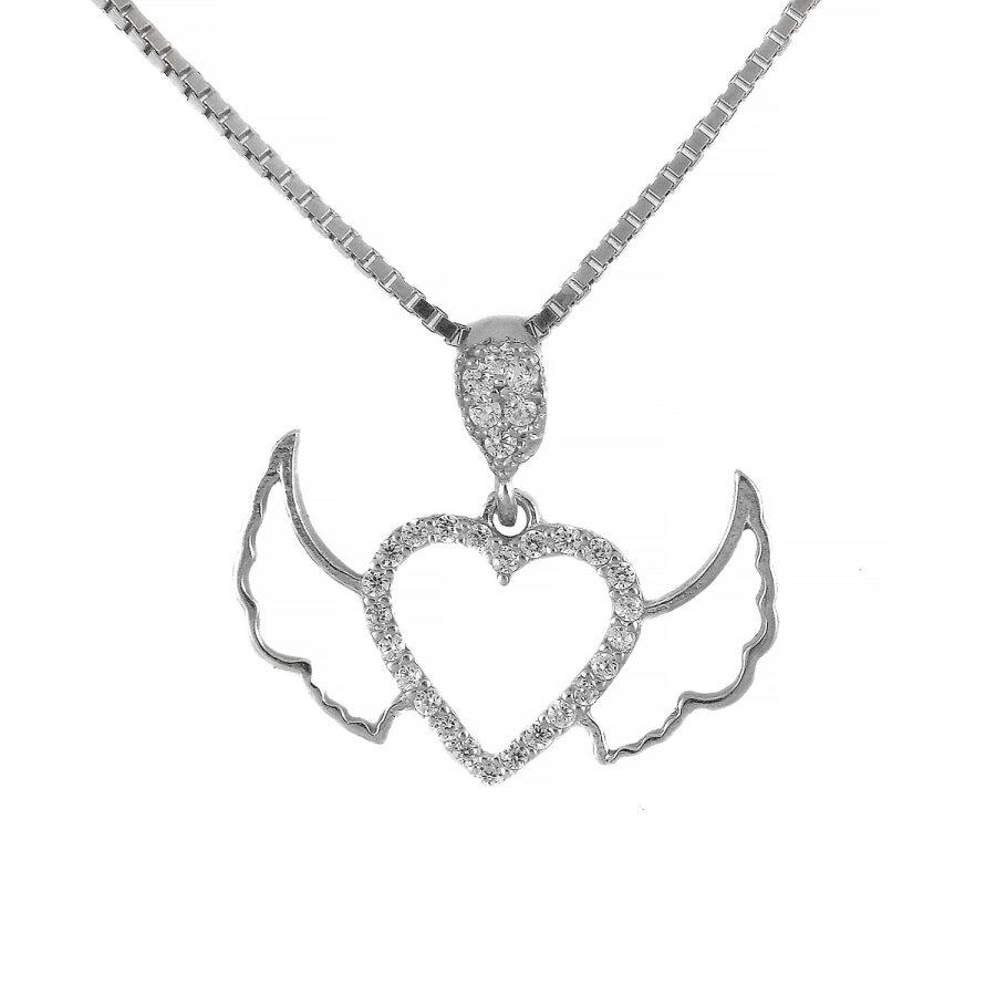 گردنبند نقره ظریف قلب بال دار ma-n414