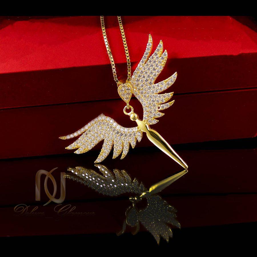 گردنبند نقره 925 طرح فرشته طلایی ma-n411 از نمای دور