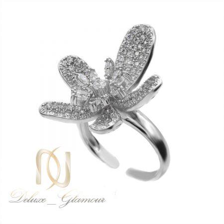 انگشتر زنانه نقره عیار 925 طرح گل rg-n499 از نمای سفید