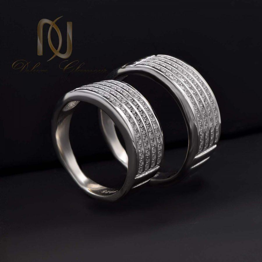 حلقه ست ازدواج نقره عیار 925 اصل rg-n491 از نمای مشکی