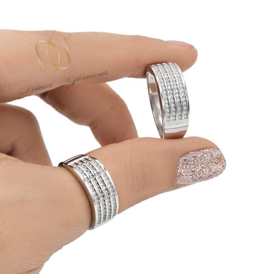 حلقه ست ازدواج نقره عیار 925 اصل rg-n491 از نمای روی دست