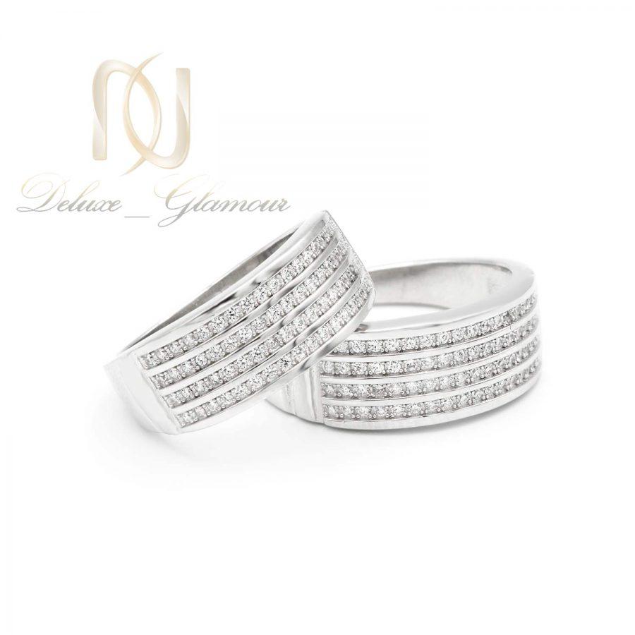 حلقه ست ازدواج نقره عیار 925 اصل rg-n491 از نمای سفید