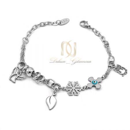 دستبند آویزدار زنانه استیل نقره ای ds-n582 از نمای سفید