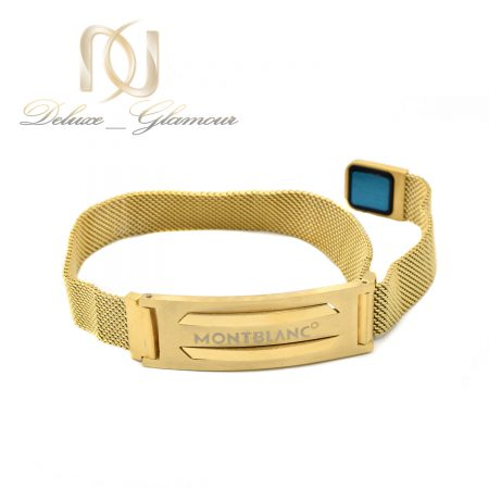 دستبند مردانه مونت بلانک طلایی حصیری ds-n578 از نمای سفید