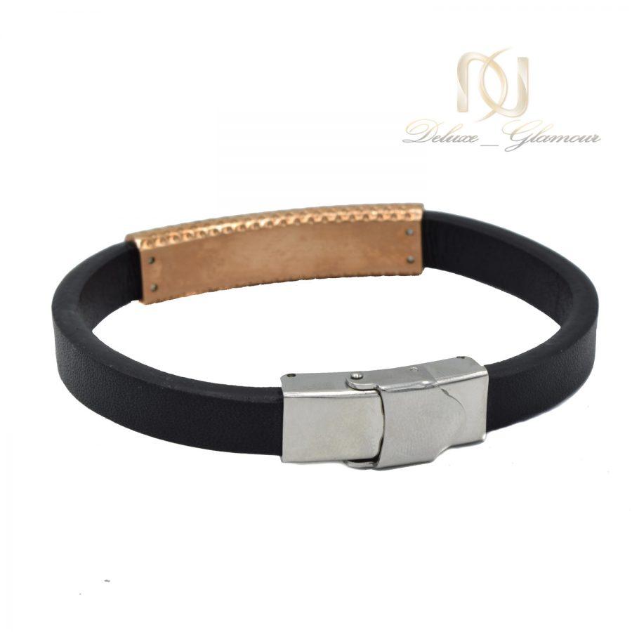 دستبند مردانه چرم طرح مونت بلانک ds-n573 از نمای پشت