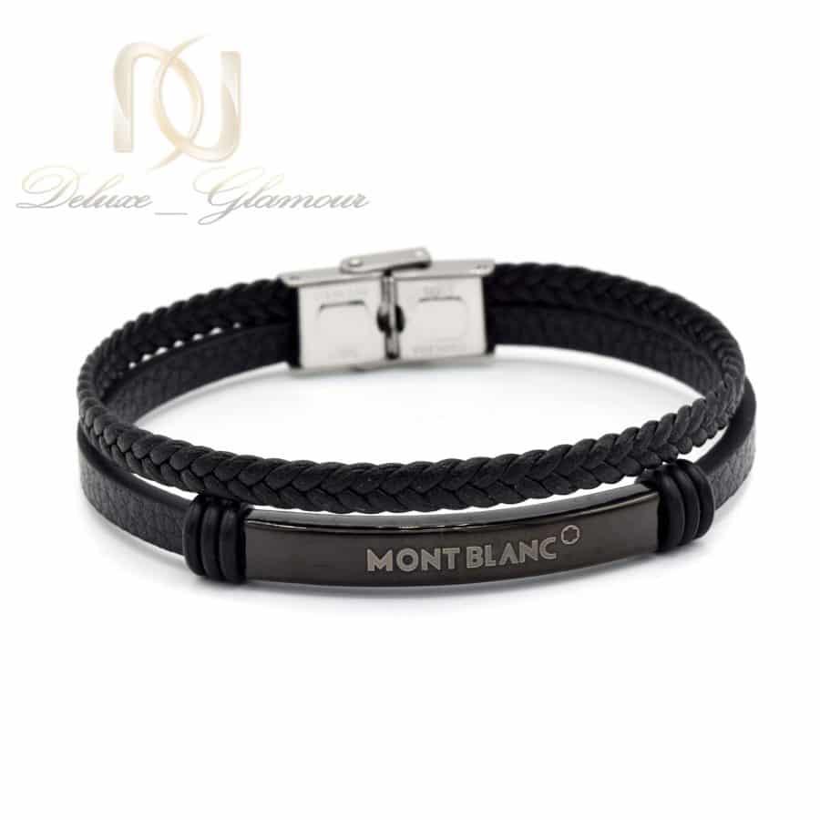 دستبند مونت بلانک مردانه چرم ds-n585 از نمای روبرو