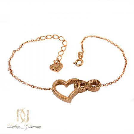 دستبند نقره دخترانه بی نهایت و قلب ma-n426 از نمای سفید