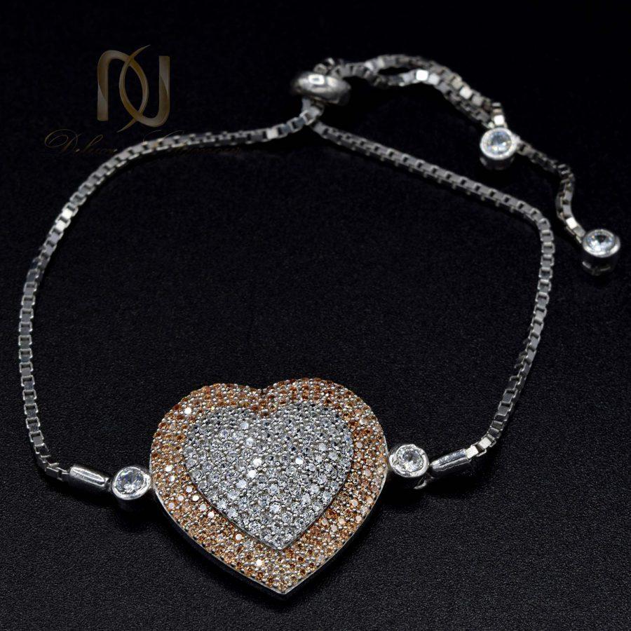 دستبند نقره دخترانه طرح قلب ds-n588