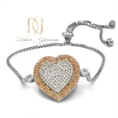 دستبند نقره دخترانه طرح قلب ds-n588 از نمای سفید