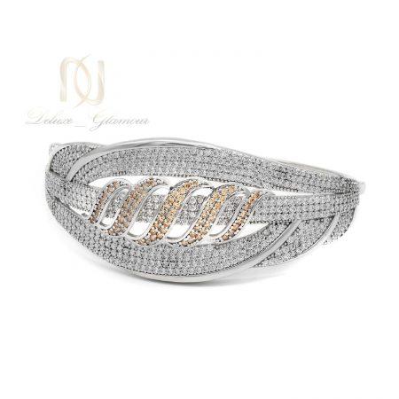 دستبند نقره زنانه قفلی نگین دار ds-n574 از نمای سفید