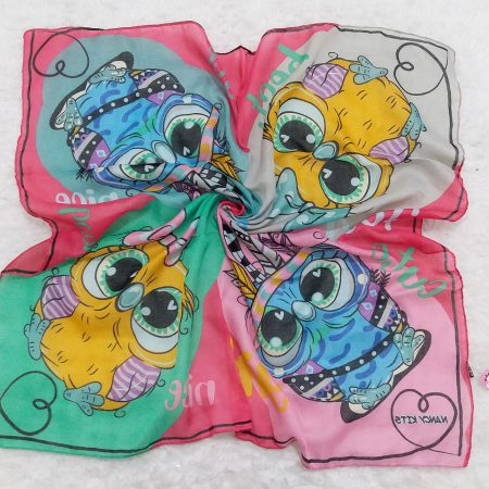 روسری نخی بچگانه جغد صورتی sr-n616