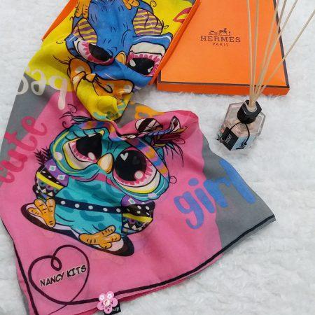 روسری نخی بچگانه جغد طوسی sr-n617