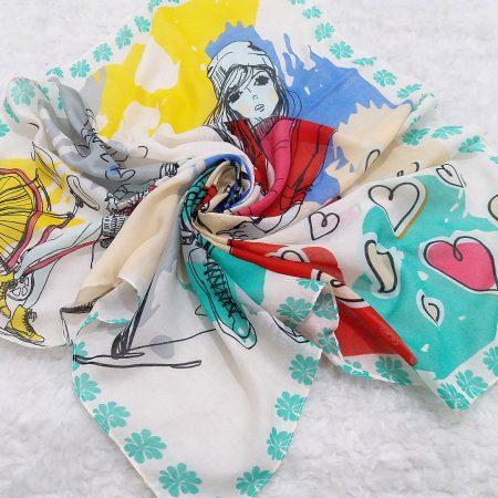 روسری نخی بچگانه نقاشی سبز پاستیلی sr-n615