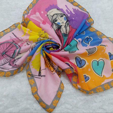 روسری نخی بچگانه نقاشی طوسی از نمای بالا