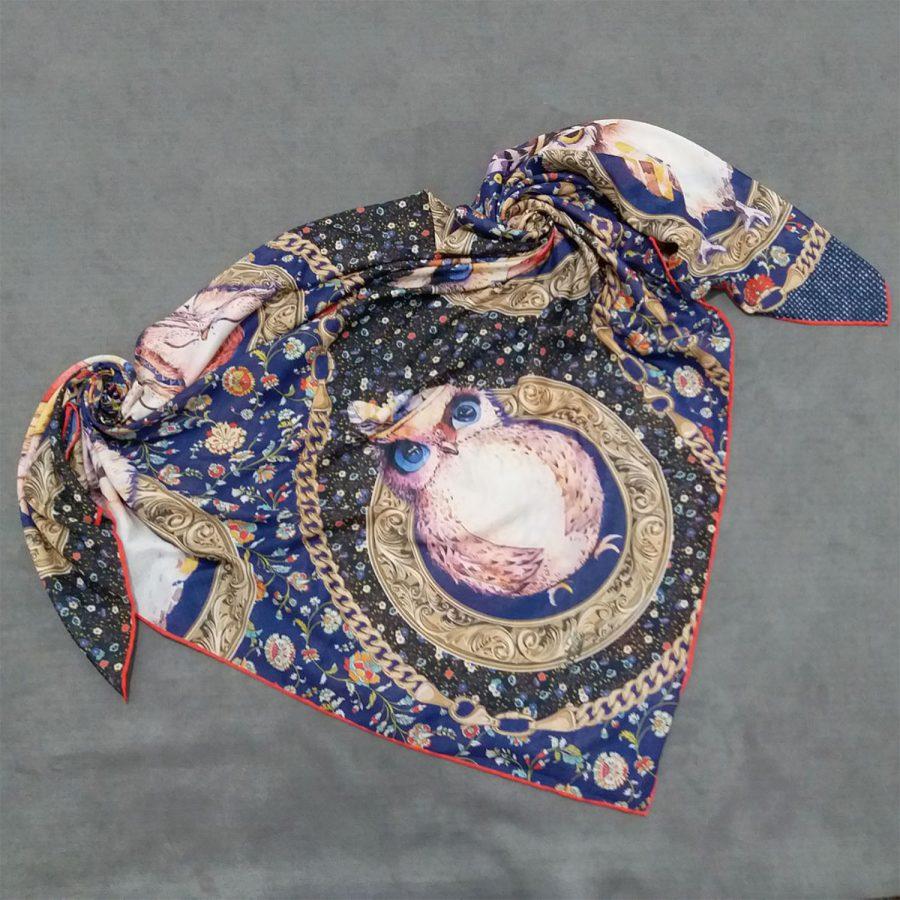 روسری نخی جدید طرح جغد از نمای بالا