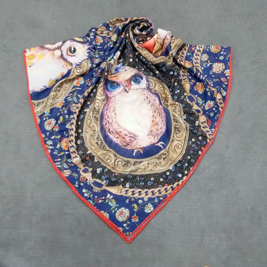 روسری نخی جدید طرح جغد از نمای کلی
