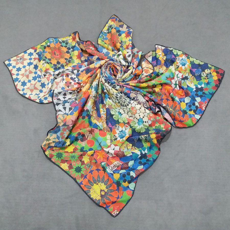 روسری نخی جدید طرح هندسی از نمای کلی