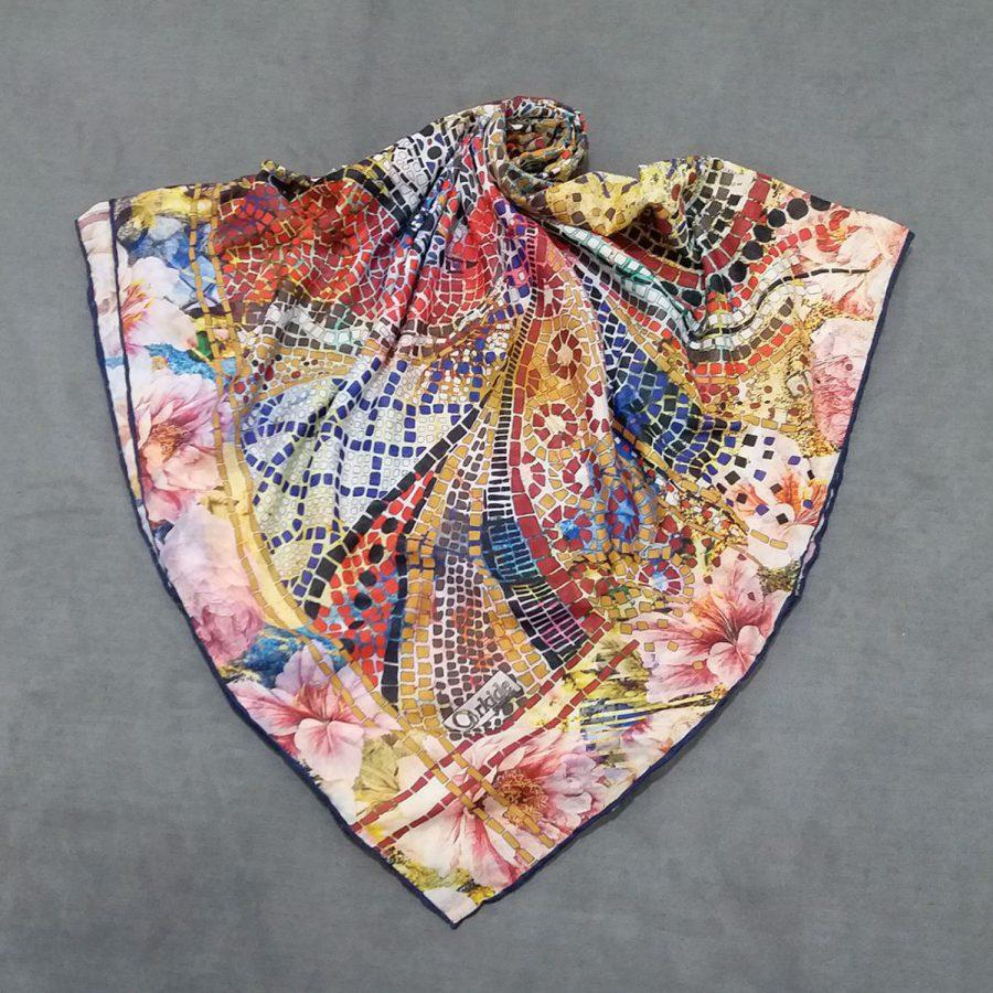روسری نخی جدید طرح کاشی شکسته از نمای کلی