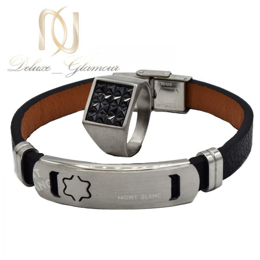 ست دستبند و انگشتر مردانه مونت بلانک ns-n528 از نمای روبرو