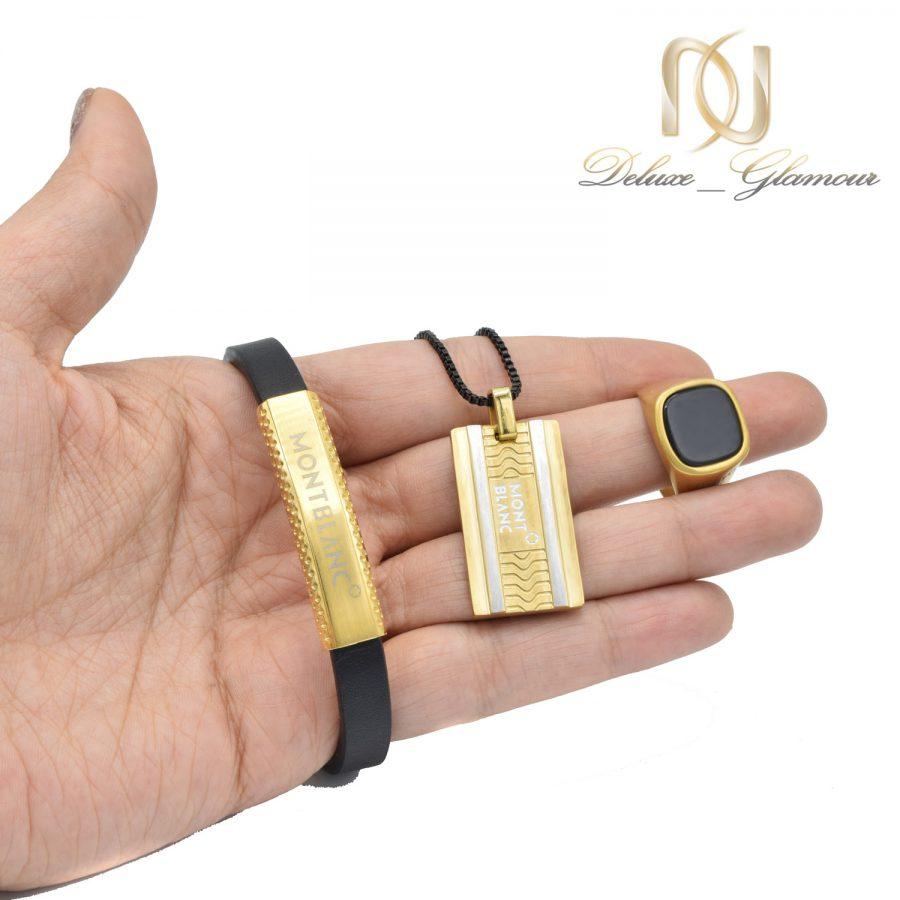 ست دستبند و انگشتر و گردنبند مردانه ns-n526 از نمای روی دست