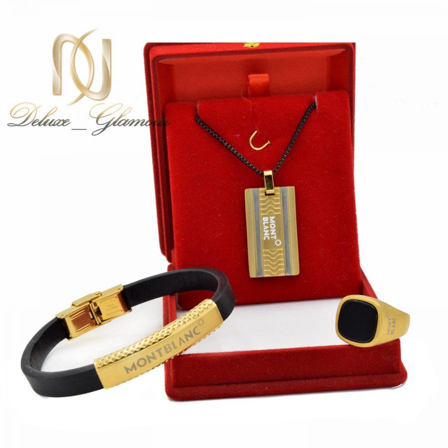 ست دستبند و انگشتر و گردنبند مردانه ns-n526 از نمای روبرو