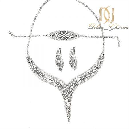 سرویس عروس نقره پرنگین جواهری ns-n525 از نمای سفید