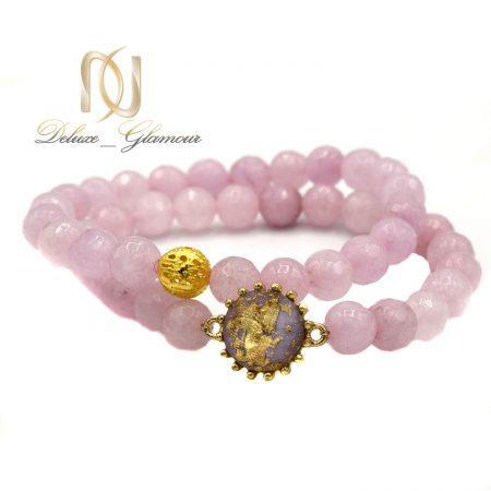 پک دستبند دخترانه سنگ عقیق صورتی ds-n587 از نمای سفید