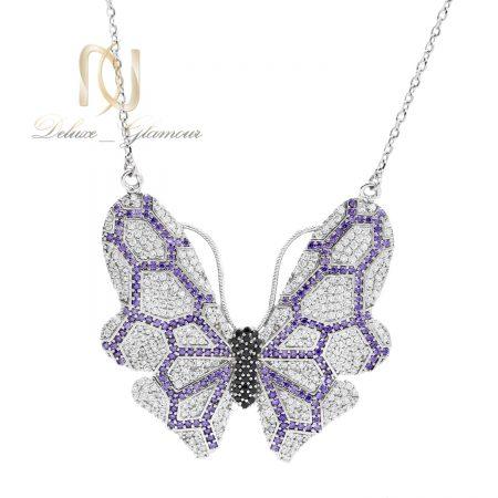 گردنبند زنانه نقره طرح پروانه nw-n662 از نمای سفید