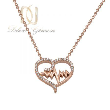 گردنبند نقره دخترانه ضربان قلب nw-n665 از نمای سفید