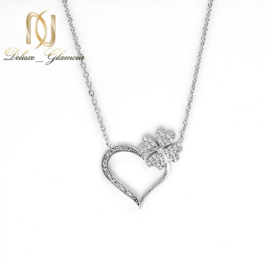 گردنبند نقره دخترانه طرح شکوفه و قلب nw-n664 از نمای سفید
