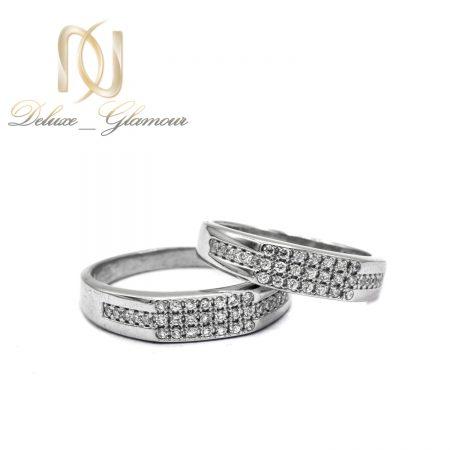 حلقه ست نقره ازدواج طرح طلا rg-n505 از نمای سفید