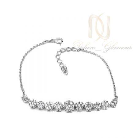 دستبند دخترانه نقره طرح فلاور ds-n610 از نمای سفید