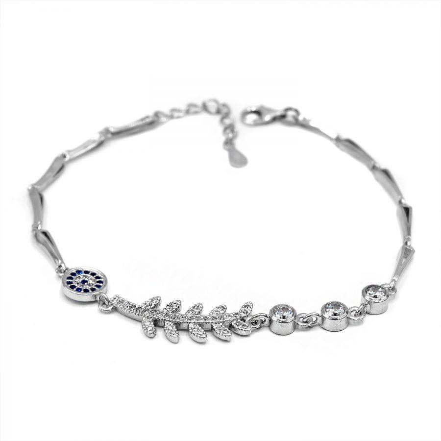 دستبند دخترانه نقره عیار 925 اصل ds-n606 از نمای سفید