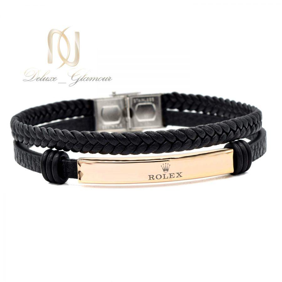 دستبند مردانه طرح رولکس چرمی ds-n594 از نمای سفید