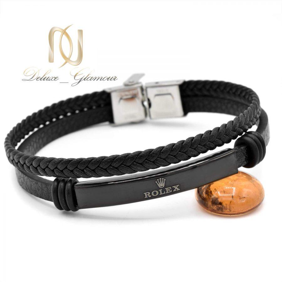 دستبند مردانه چرم طرح رولکس ds-n593