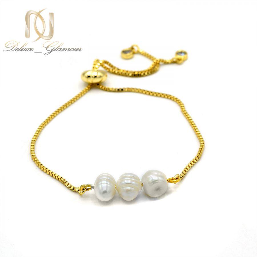 دستبند مرواریدی استیل طلایی دخترانه za-n402