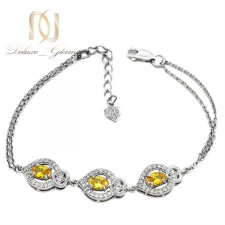 دستبند نقره دخترانه نگین طلایی طرح برگ ds-n607