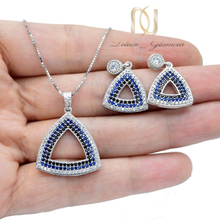نیم ست نقره زنانه طرح مثلث ns-n536